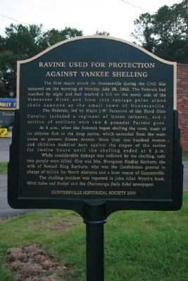 Ravine Used For Protection Against Yankee Shelling Marker image. Click for full size.