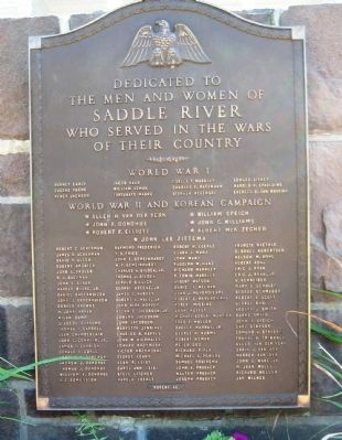 Saddle River Veterans Monument Marker image. Click for full size.
