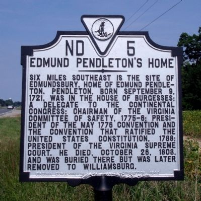 Edmund Pendleton's Home Marker image. Click for full size.