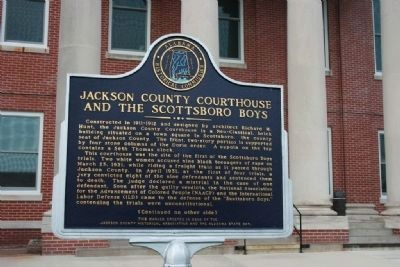 Jackson County Courthouse And The Scottsboro Boys Marker image. Click for full size.