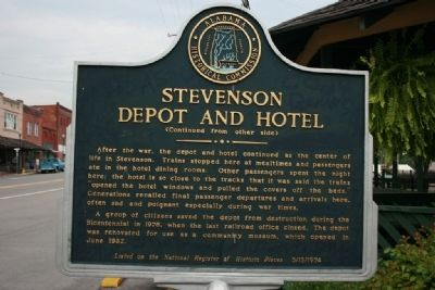 Stevenson Depot and Hotel Marker Reverse image. Click for full size.