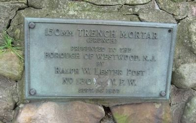 Plaque on the 150mm Trench Mortar image. Click for full size.