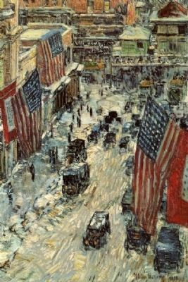 <i>Flags on 57th Street</i> by Childe Hassam, 1918 image. Click for full size.