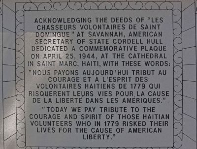Haitian Monument Marker, south face image. Click for full size.