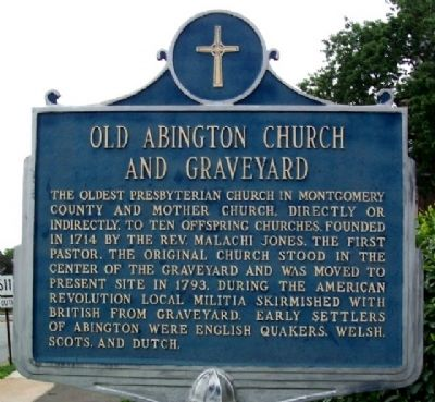 Old Abington Church and Graveyard Marker image. Click for full size.