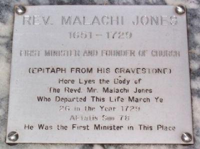 Marker on Grave of Rev. Malachi Jones image. Click for full size.