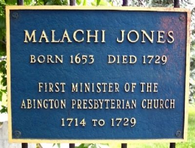 Rev. Malachi Jones Marker on Graveyard Fence image. Click for full size.