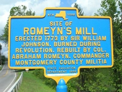 Romeyn's Mill Marker, Village of Mayfield, N.Y image. Click for full size.