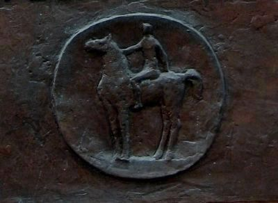 Marker Detail - Depiction of a Rider. image. Click for full size.