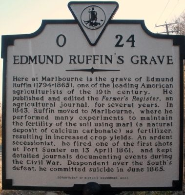 Edmund Ruffin's Grave Marker image. Click for full size.