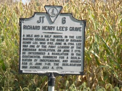 Richard Henry Lee's Grave Marker image. Click for full size.