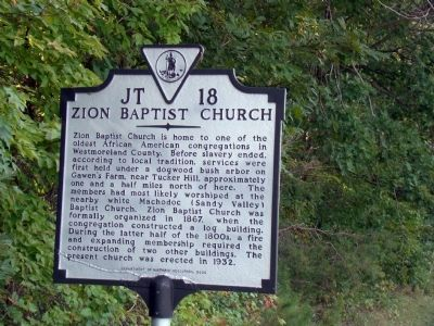Zion Baptist Church Marker image. Click for full size.