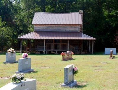 Hendrix Cabin -<br>Home of Abner Creek Baptist Church<br>Marker to Far Right Has Its Own Page image. Click for full size.