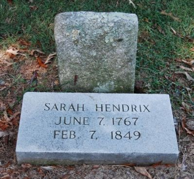 Sarah Hendrix Tombstone -<br>Located Adjacent to the Cabin image. Click for full size.