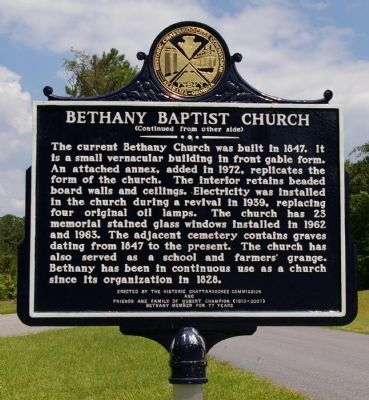 Bethany Baptist Church Marker (Side 2) image. Click for full size.