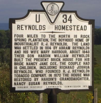 Reynolds Homestead Marker image. Click for full size.