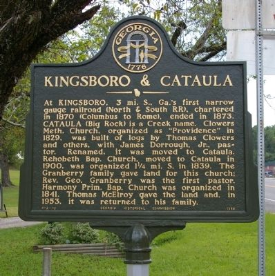 Kingsboro & Cataula Marker image. Click for full size.