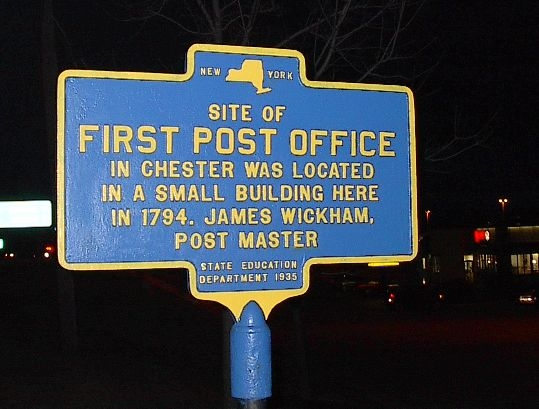 First Post Office in Chester Marker