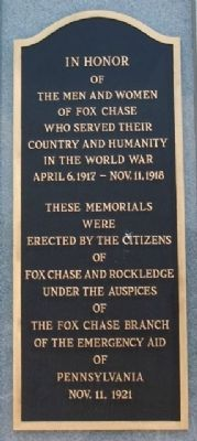 Fox Chase and Rockledge World War Memorial Marker image. Click for full size.