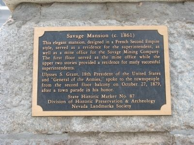 Second Savage Mansion Marker image. Click for full size.