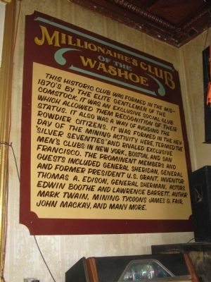 The Millionaires Club Marker image. Click for full size.