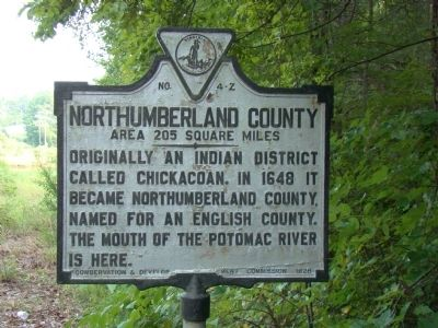 Northumberland County Face of Marker image. Click for full size.