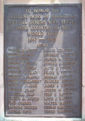 Burholme World War I Memorial Marker image. Click for full size.