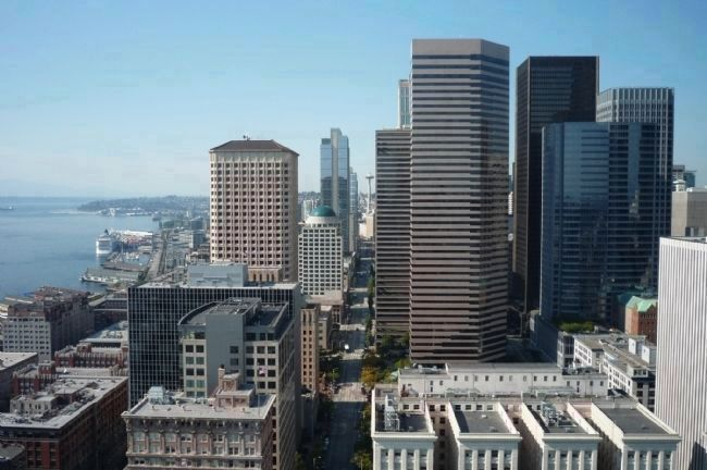 Downtown Seattle - view north from the Smith Tower's 35th floor observation deck. image. Click for full size.