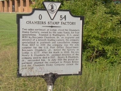 Chambers Stamp Factory Marker image. Click for full size.