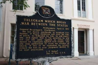 Telegram Which Began War Between The States Marker image. Click for full size.