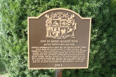 Laurel Cotton Mill and Dam Marker image. Click for full size.