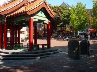 Hing Hay Park - Chinese Soldiers Memorial in background, against the wall beyond the pagoda - image. Click for full size.