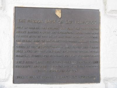 The Nevada Bank of San Francisco Marker image. Click for full size.