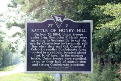 Battle of Honey Hill New Replacement Marker image. Click for full size.