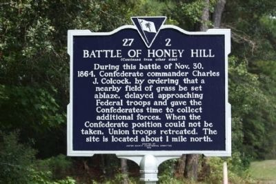 Battle of Honey Hill Replacement Marker Side 2 image. Click for full size.