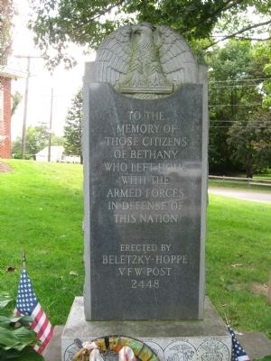 Bethany Veterans Monument image. Click for full size.