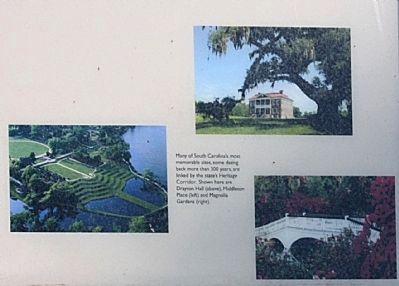 top: Drayton Hall, left: Middleton Place, and right: Magnolia Gardens. image. Click for full size.