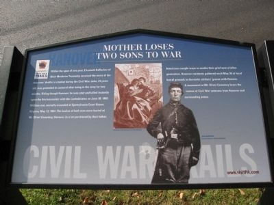 Mother Loses Two Sons to War Marker image. Click for full size.