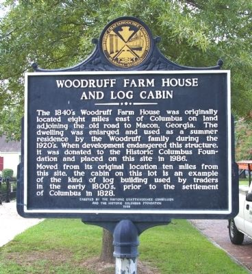 Woodruff Farm House and Log Cabin Marker image. Click for full size.
