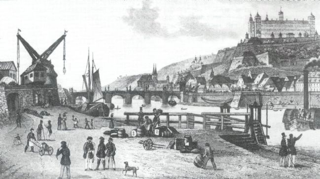 Wuerzburg - Looking South Along the Main River (early 1800's) image. Click for full size.
