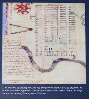 Right picture: This 1742 map shows the marketplace's prime location. image. Click for full size.