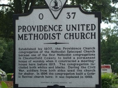 Providence United Methodist Church Marker image. Click for full size.