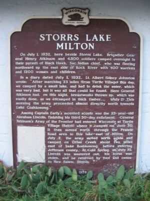 Storrs Lake Milton Marker image. Click for full size.