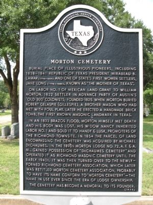 Morton Cemetery Marker image. Click for full size.