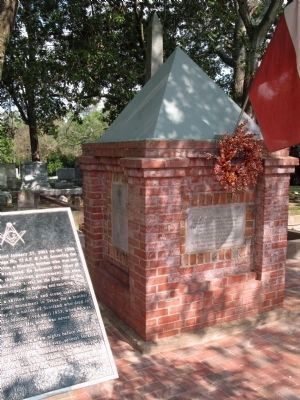 Brick tomb and monument, first known Masonic landmark in Texas image. Click for full size.