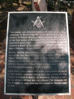 Historical marker associated with Masonic marker image. Click for full size.