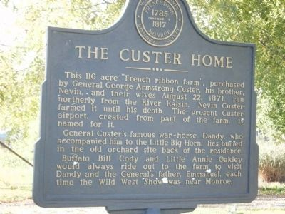 The Custer Home Marker image. Click for full size.