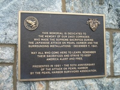 Attack on Pearl Harbor Marker image. Click for full size.
