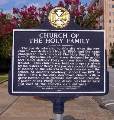 Church of the Holy Family Marker, Reverse image. Click for full size.
