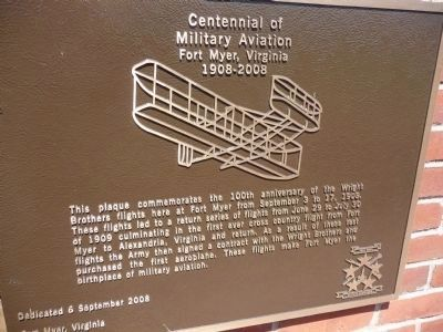 Centennial of Military Aviation Marker image. Click for full size.